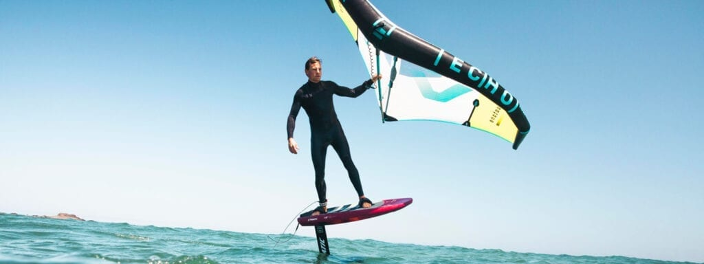 Wing foiling at Flag Beach